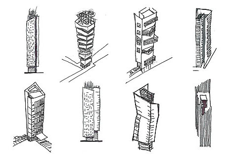 Sketched Options for Mixed Use Towers